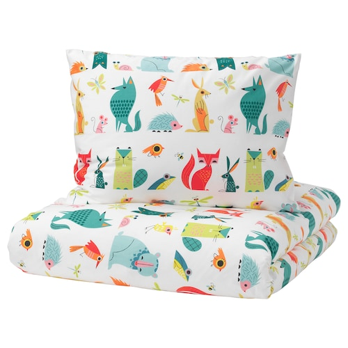 LATTJO quilt cover and pillowcase animal/multicolour 200 cm 150 cm 50 cm 60 cm