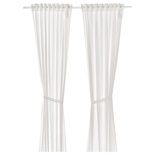 LEN curtains with tie-backs, 1 pair dotted/white 300 cm 120 cm