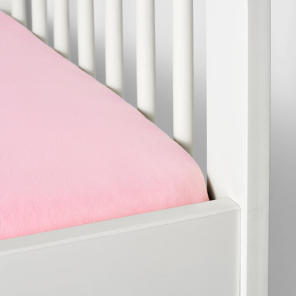 LEN fitted sheet for cot white/pink 120 cm 60 cm 2 pieces