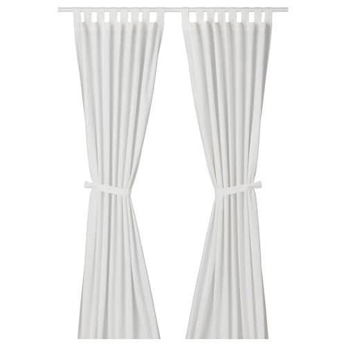 LENDA curtains with tie-backs, 1 pair white 300 cm 140 cm 2.10 kg 4.20 m² 2 pieces