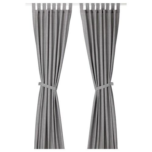 LENDA curtains with tie-backs, 1 pair grey 300 cm 140 cm 2.10 kg 4.20 m² 2 pieces
