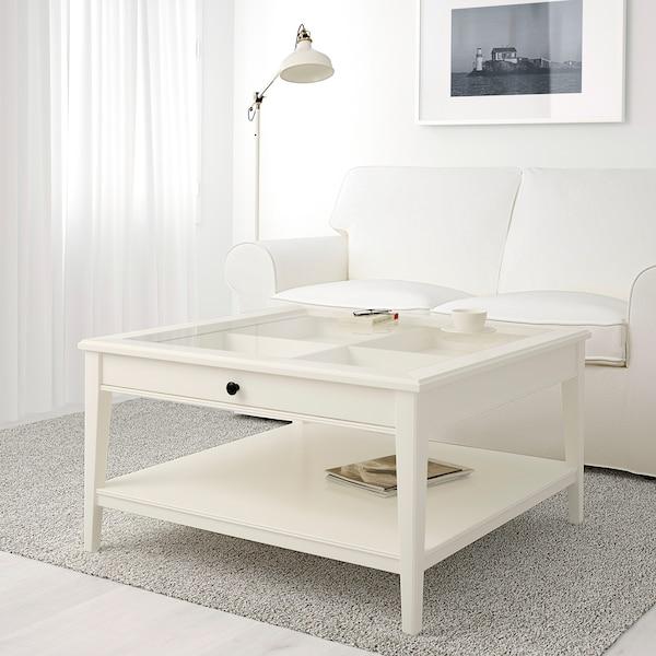 LIATORP طاولة قهوة, أبيض/زجاج, 93x93 سم