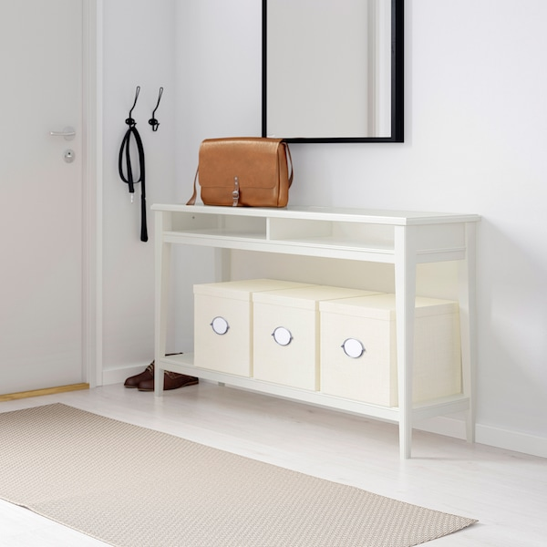 LIATORP طاولة كونسول, أبيض/زجاج, 133x37 سم
