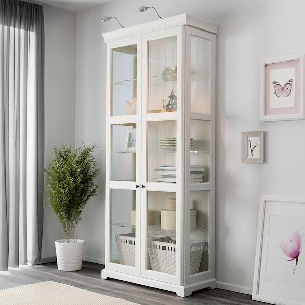 LIATORP خزانة بباب زجاج, أبيض, 96x214 سم