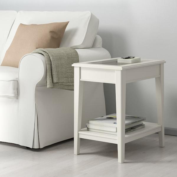 LIATORP طاولة جانبية, أبيض/زجاج, 57x40 سم