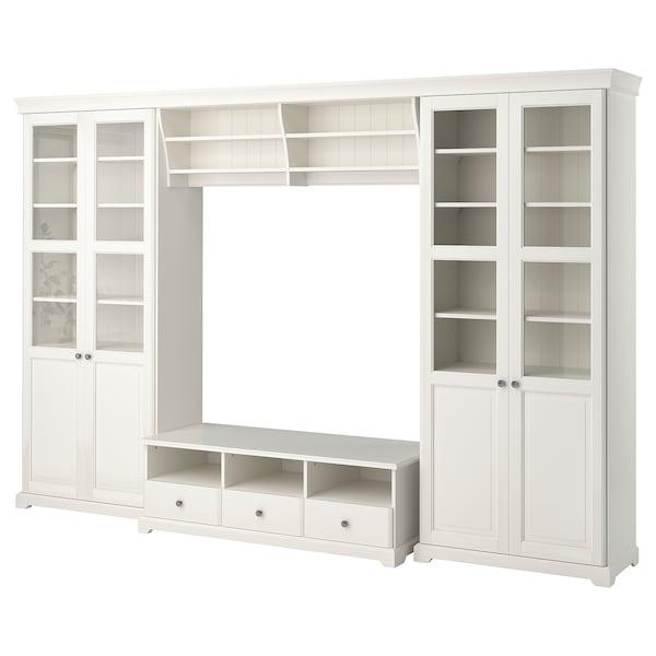 LIATORP مجموعة تخزين تليفزيون, أبيض, 332x214 سم