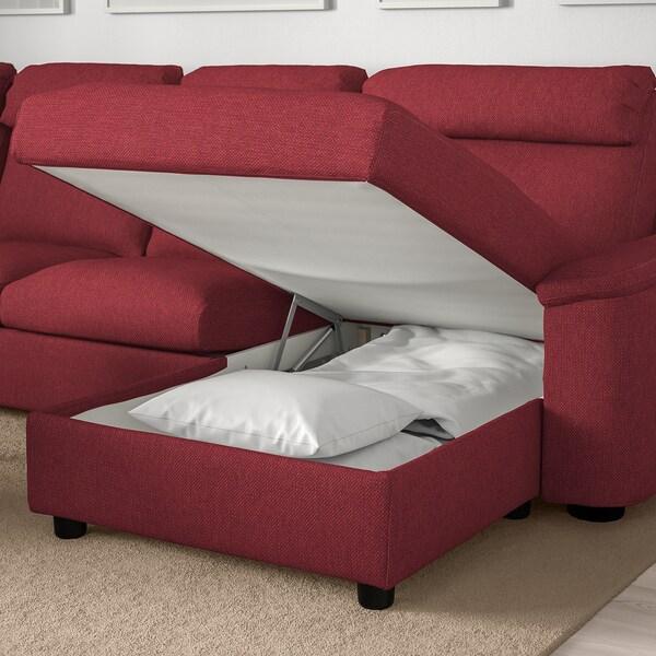 LIDHULT كنبة 4 مقاعد, مع أريكة طويلة/Lejde أحمر-بني