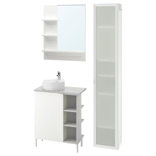 LILLÅNGEN/VISKAN / GUTVIKEN bathroom furniture, set of 9 white/grey Olskär tap 62 cm 40 cm 49 cm 89 cm