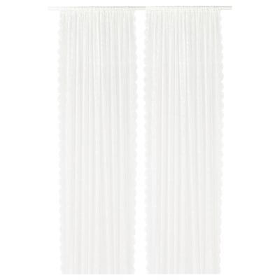 LILLYANA Sheer curtains, 1 pair, white/flower, 145x300 cm