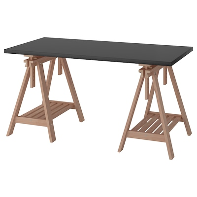 LINNMON / FINNVARD Table, black-brown/beech, 150x75 cm