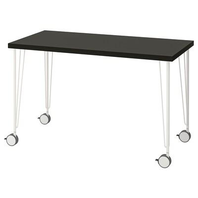 LINNMON / KRILLE Table, black-brown/white, 120x60 cm