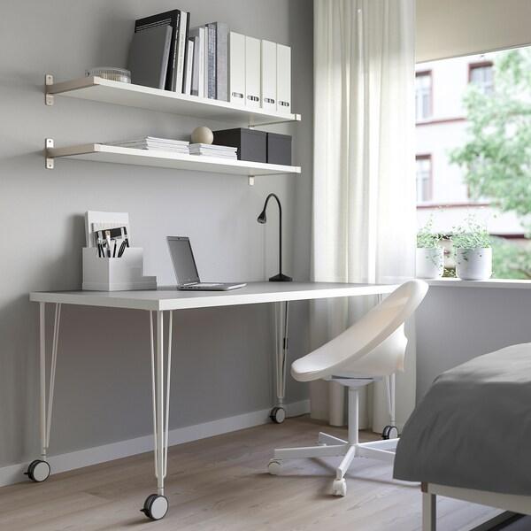LINNMON / KRILLE طاولة, رمادي فاتح/أبيض, 150x75 سم