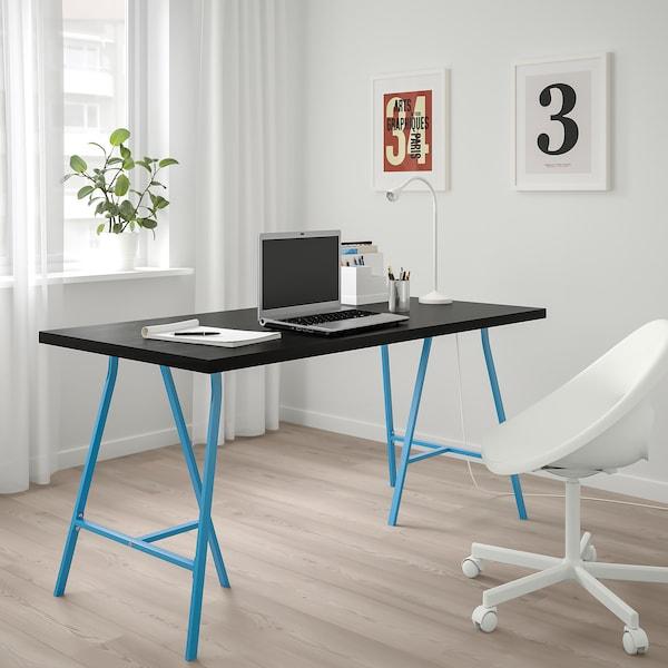 LINNMON / LERBERG طاولة, أسود-بني/أزرق, 150x75 سم
