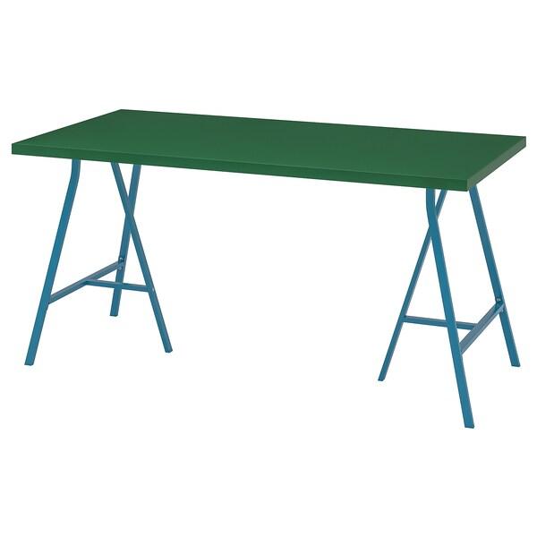 LINNMON / LERBERG طاولة, أخضر/أزرق, 150x75 سم