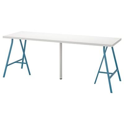 LINNMON / LERBERG Table, white/blue, 200x60 cm