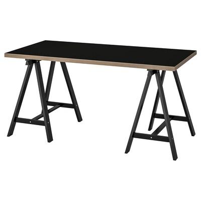 LINNMON / ODDVALD Table, black plywood/black, 150x75 cm
