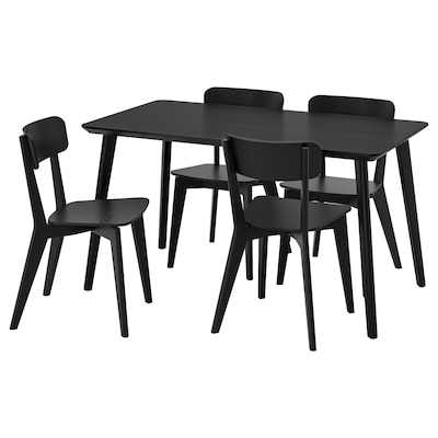 LISABO / LISABO طاولة و4 كراسي, أسود/أسود, 140x78 سم