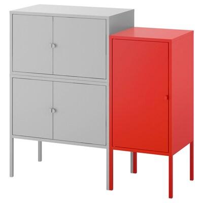 LIXHULT تشكيلة خزانات, رمادي/أحمر, 95x35x92 سم