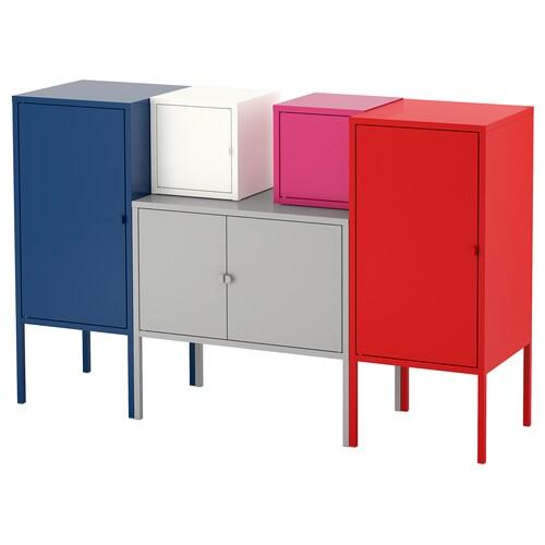 LIXHULT storage combination dark blue grey/white/pink/red 60 cm 82 cm 130 cm 35 cm 82 cm 21 cm 12 kg