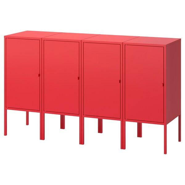 LIXHULT تشكيلة تخزين, أحمر, 140x35x82 سم