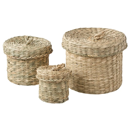 LJUSNAN box with lid, set of 3 seagrass