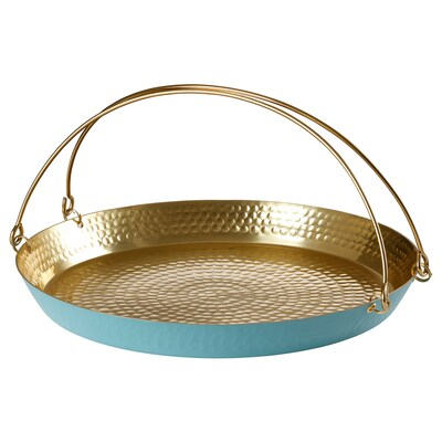 LJUV Tray with handle, gold-colour/turquoise, 36x35 cm