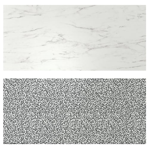 LYSEKIL wall panel double sided white marble effect/black/white mosaic patterned 119.6 cm 55 cm 0.2 cm