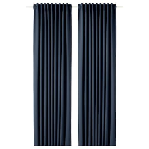 MAJGULL block-out curtains, 1 pair dark blue 300 cm 145 cm 2.50 kg 4.35 m² 2 pieces