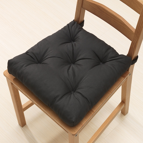 MALINDA Chair cushion, black, 40/35x38x7 cm