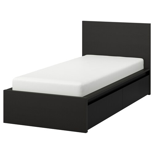 MALM bed frame, high, w 2 storage boxes black-brown 15 cm 209 cm 105 cm 97 cm 59 cm 38 cm 100 cm 200 cm 90 cm 100 cm