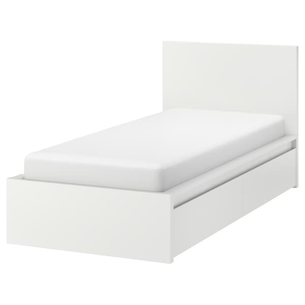 Malm Bed Frame High W 2 Storage Boxes White Luroy Ikea