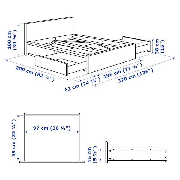 MALM bed frame, high, w 4 storage boxes white stained oak veneer/Luröy 15 cm 209 cm 196 cm 97 cm 59 cm 38 cm 100 cm 200 cm 180 cm 100 cm