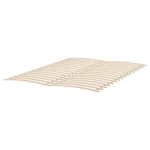 MALM Bed frame, high, white stained oak veneer/Luröy, 140x200 cm