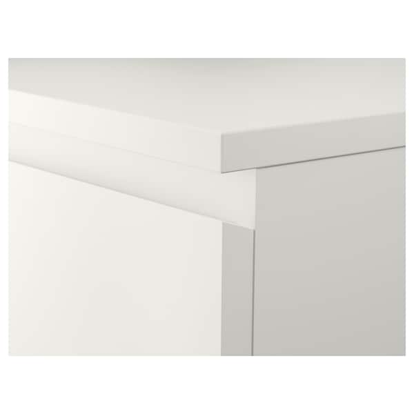 MALM Chest of 6 drawers, white/mirror glass, 40x123 cm
