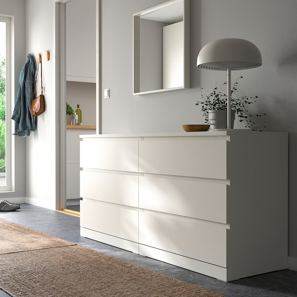 MALM Chest of 6 drawers, white, 160x78 cm