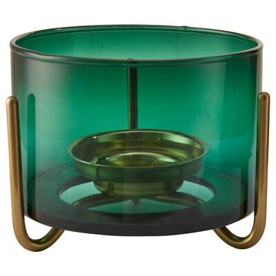 MASKERING Tealight stand, green glass, 9 cm