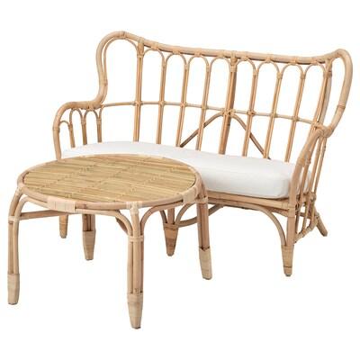 MASTHOLMEN 2-seat conversation set, outdoor, rattan