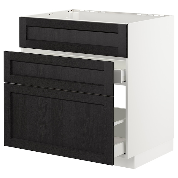 METOD Base cab f sink+3 fronts/2 drawers, white/Lerhyttan black stained, 80x60 cm