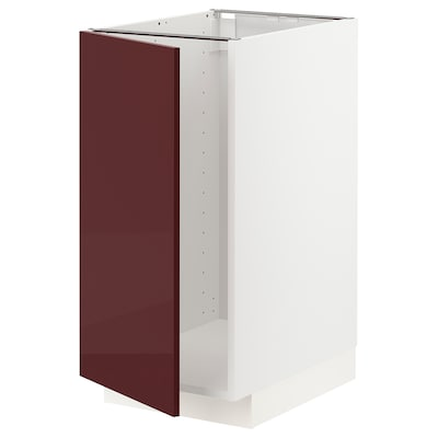METOD Base cab f sink/waste sorting, white Kallarp/high-gloss dark red-brown, 40x60 cm
