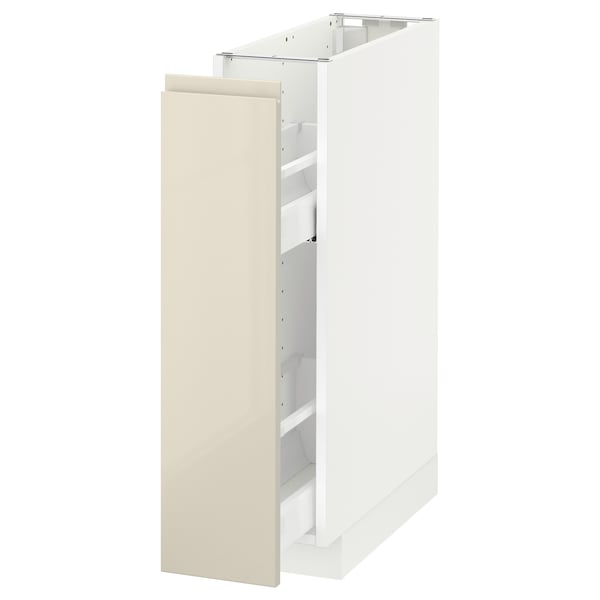 METOD Base cabinet/pull-out int fittings, white/Voxtorp high-gloss light beige, 20x60 cm