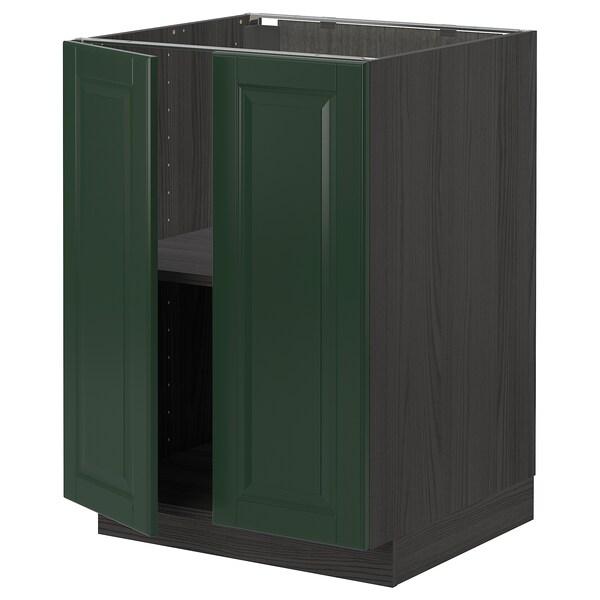 METOD خزانة قاعدة مع أرفف/بابين, أسود/Bodbyn أخضر غامق, 60x60 سم