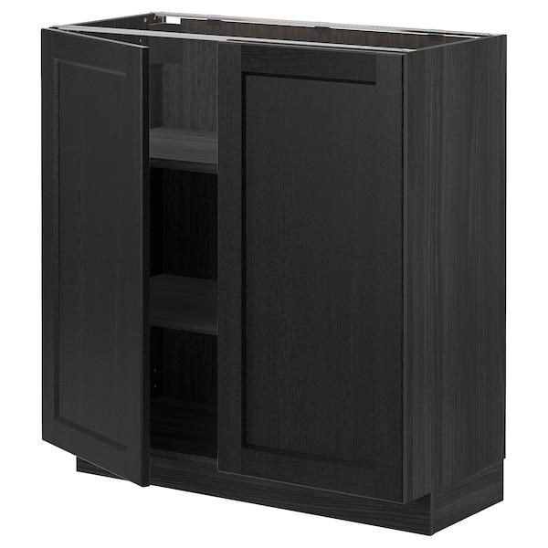 METOD Base cabinet with shelves/2 doors, black/Lerhyttan black stained, 80x37 cm