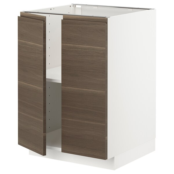 METOD خزانة قاعدة مع أرفف/بابين, أبيض/Voxtorp شكل خشب الجوز, 60x60 سم
