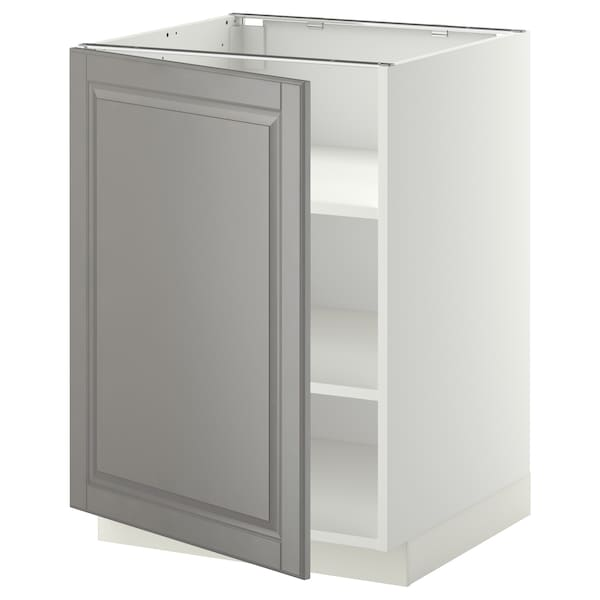METOD Base cabinet with shelves, white/Bodbyn grey, 60x60 cm