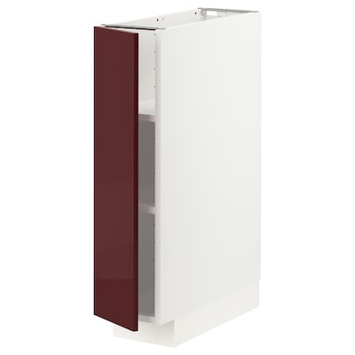 METOD خزانة قاعدية مع رفوف, أبيض Kallarp/لامع أحمر-بني غامق, 20x60 سم