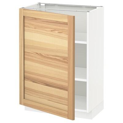 METOD خزانة قاعدة مع أرفف, أبيض/Torhamn رماد, 60x37 سم