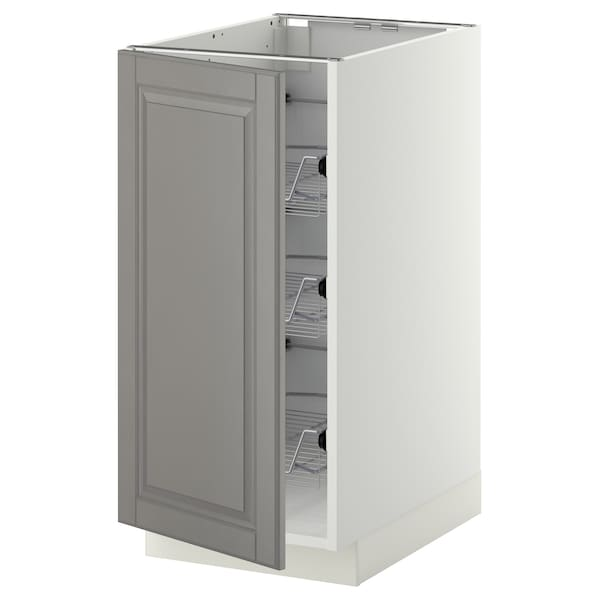 METOD Base cabinet with wire baskets, white/Bodbyn grey, 40x60 cm