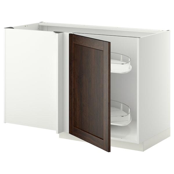 METOD خزانة قاعدة ركنية مع سحب للخارج, أبيض/Edserum بني, 128x68 سم