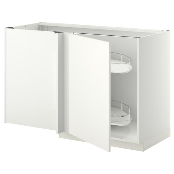METOD خزانة قاعدة ركنية مع سحب للخارج, أبيض/Häggeby أبيض, 128x68 سم