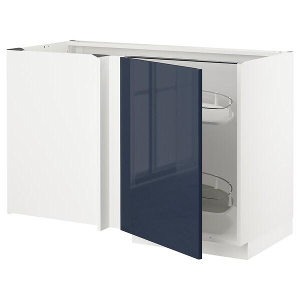 METOD خزانة قاعدة ركنية مع سحب للخارج, أبيض/Järsta أسود-أزرق, 128x68 سم
